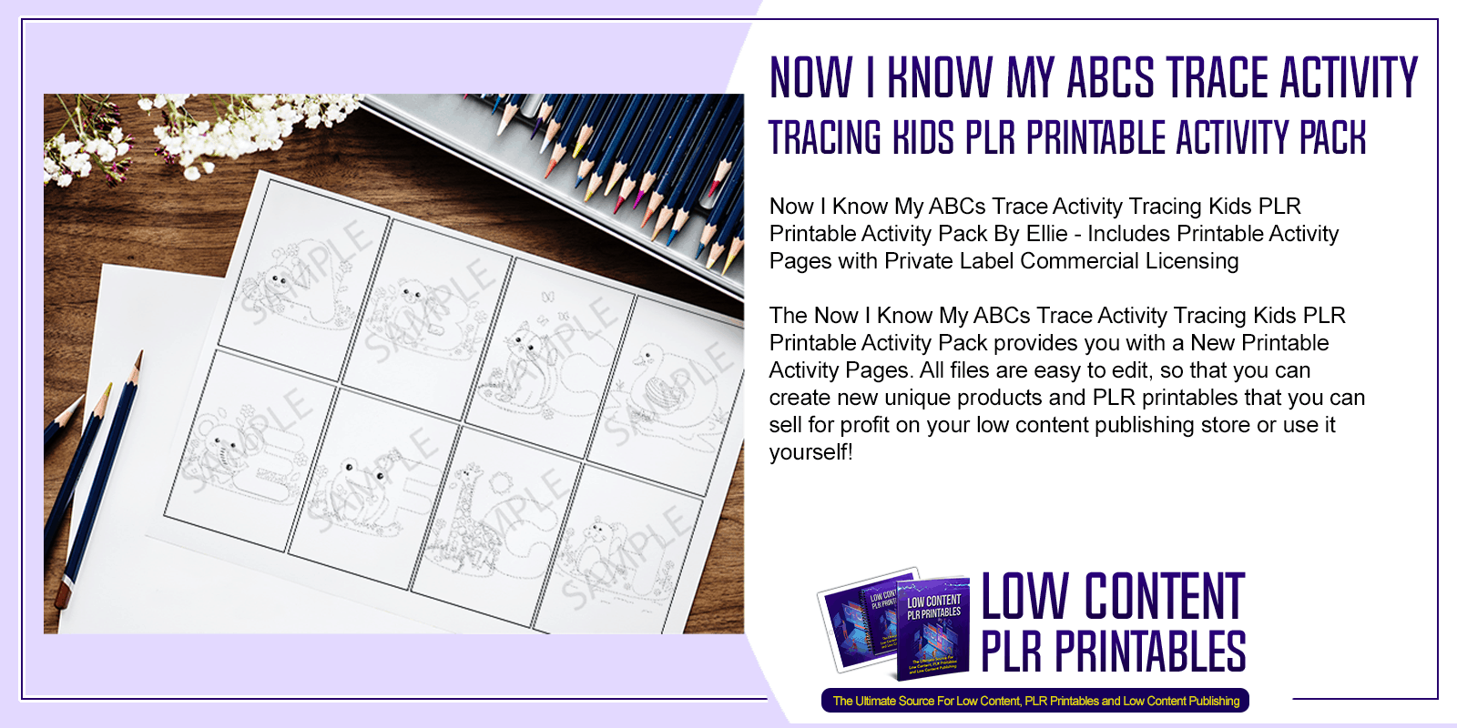 Now I Know My ABCs Trace Activity Tracing Kids PLR Printable Activity Pack