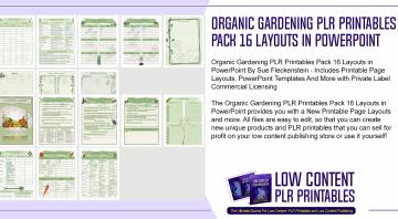 Organic Gardening PLR Printables Pack 16 Layouts in PowerPoint