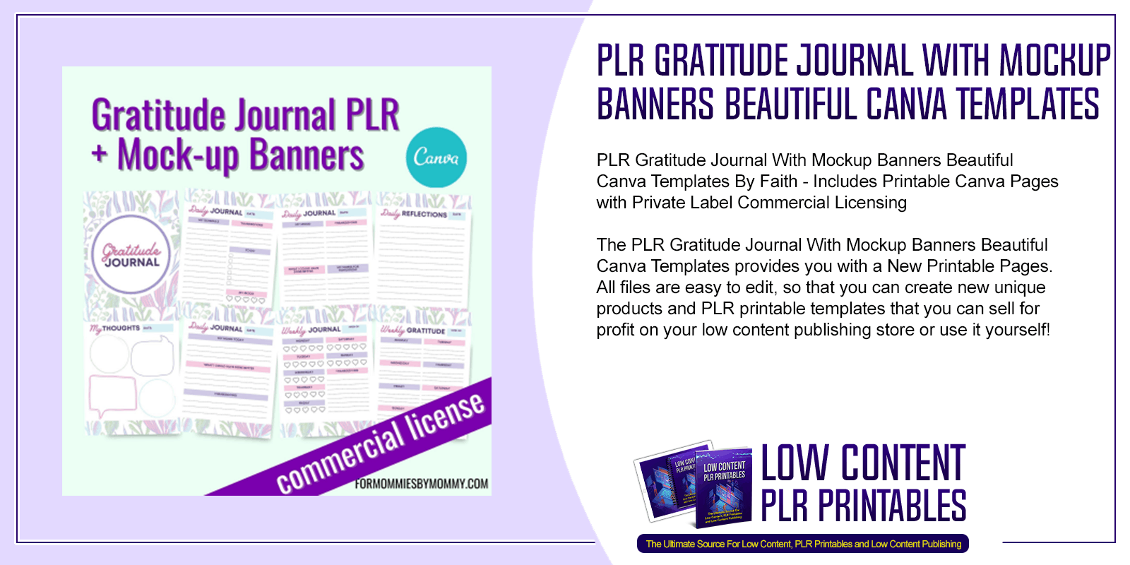 PLR Gratitude Journal With Mockup Banners Beautiful Canva Templates