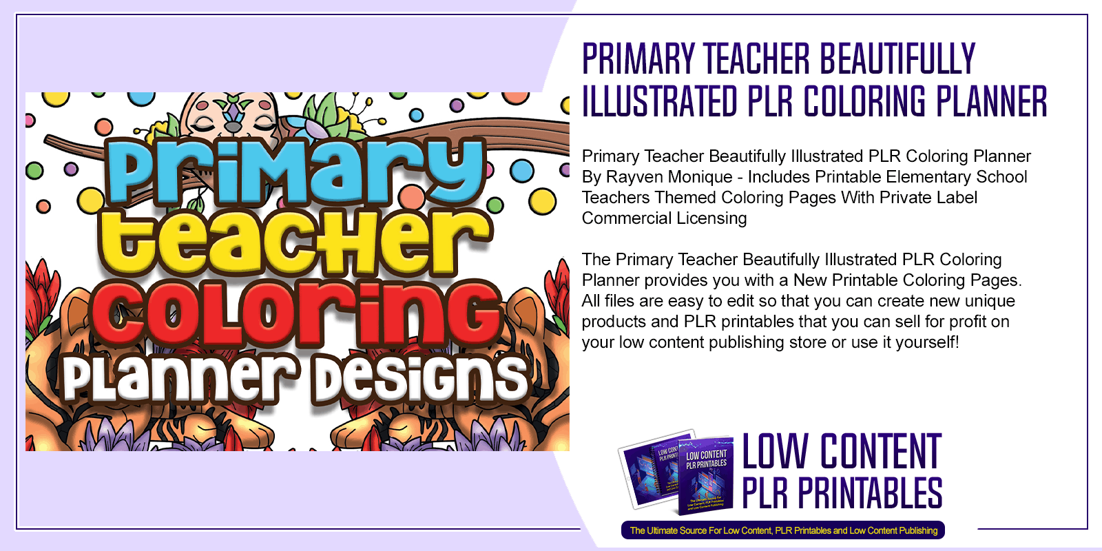 Primary Teacher Beautifully Illustrated PLR Coloring Planner
