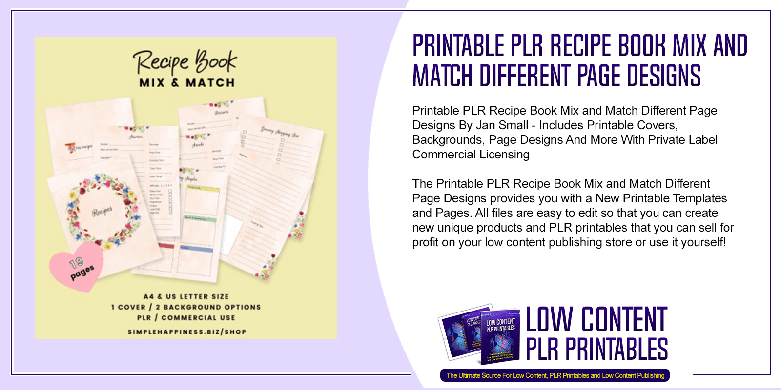 Printable PLR Recipe Book Mix and Match Different Page Designs