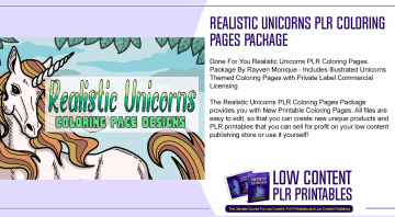 Realistic Unicorns PLR Coloring Pages Package