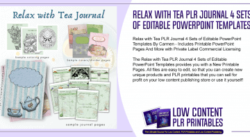 Relax with Tea PLR Journal 4 Sets of Editable PowerPoint Templates