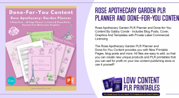 Rose Apothecary Garden PLR Planner and Done for You Content