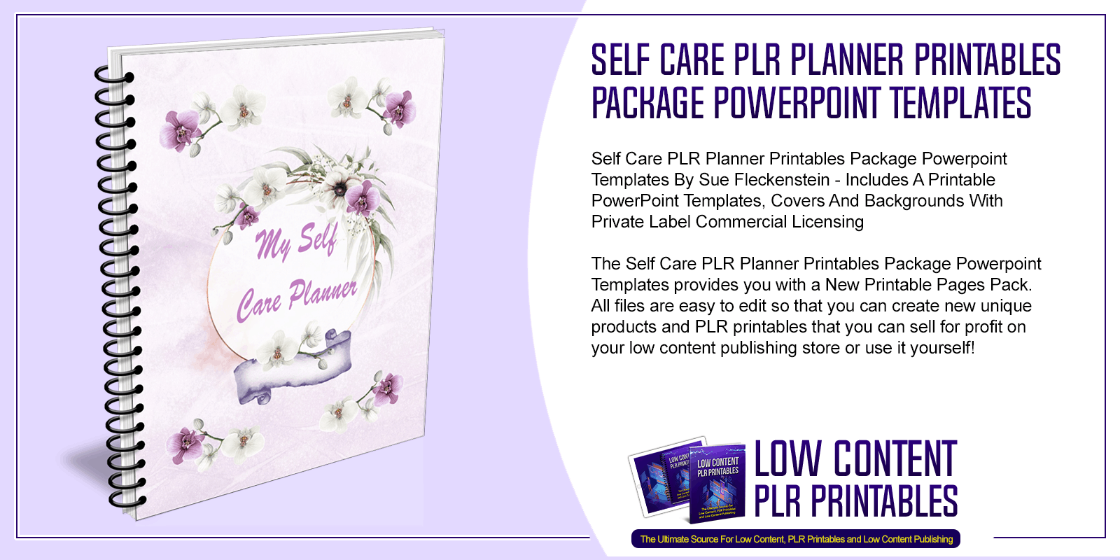Self Care PLR Planner Printables Package Powerpoint Templates