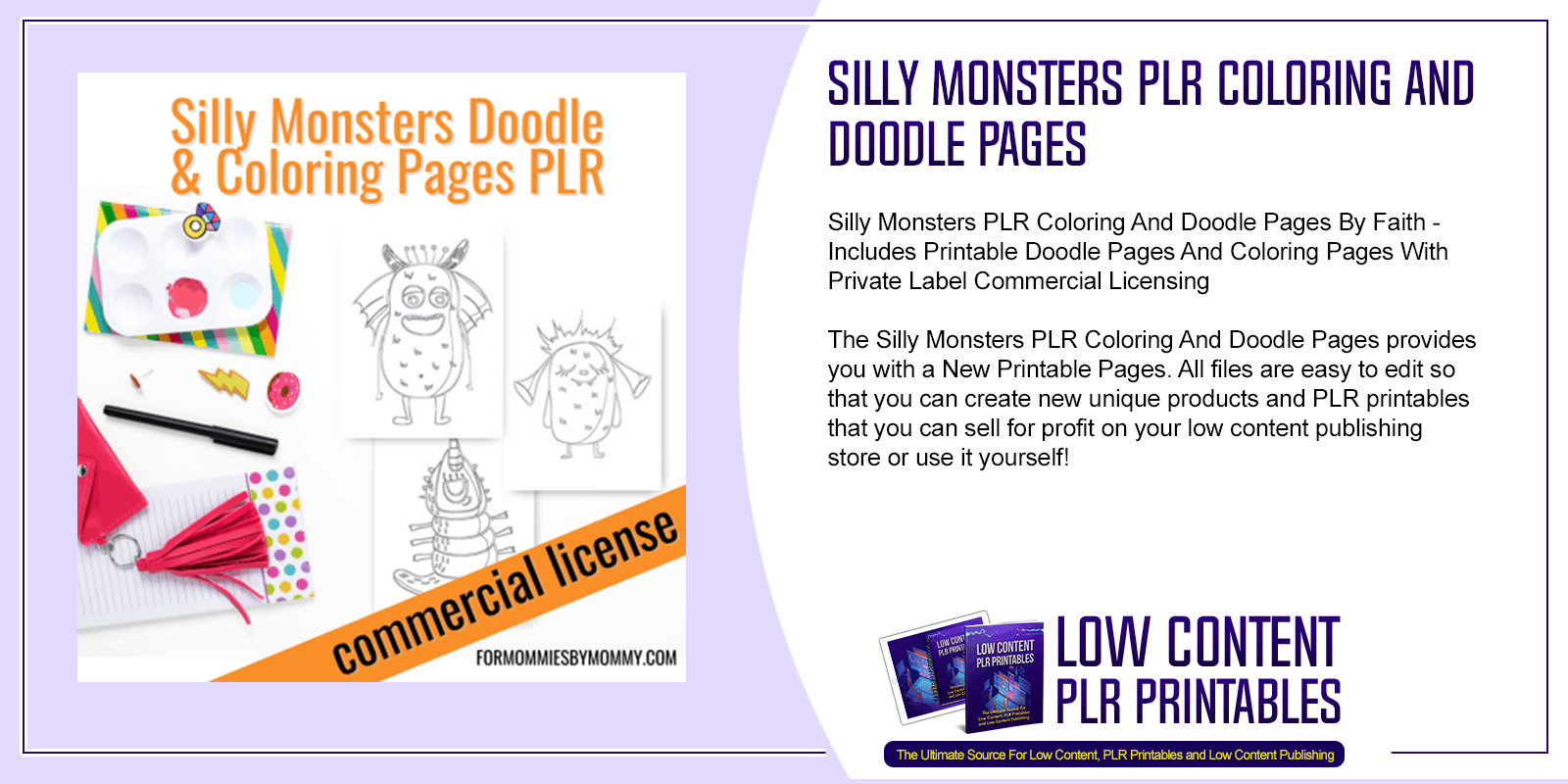 Silly Monsters PLR Coloring And Doodle Pages