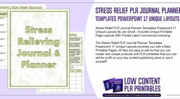 Stress Relief PLR Journal Planner Templates Powerpoint 17 Unique Layouts