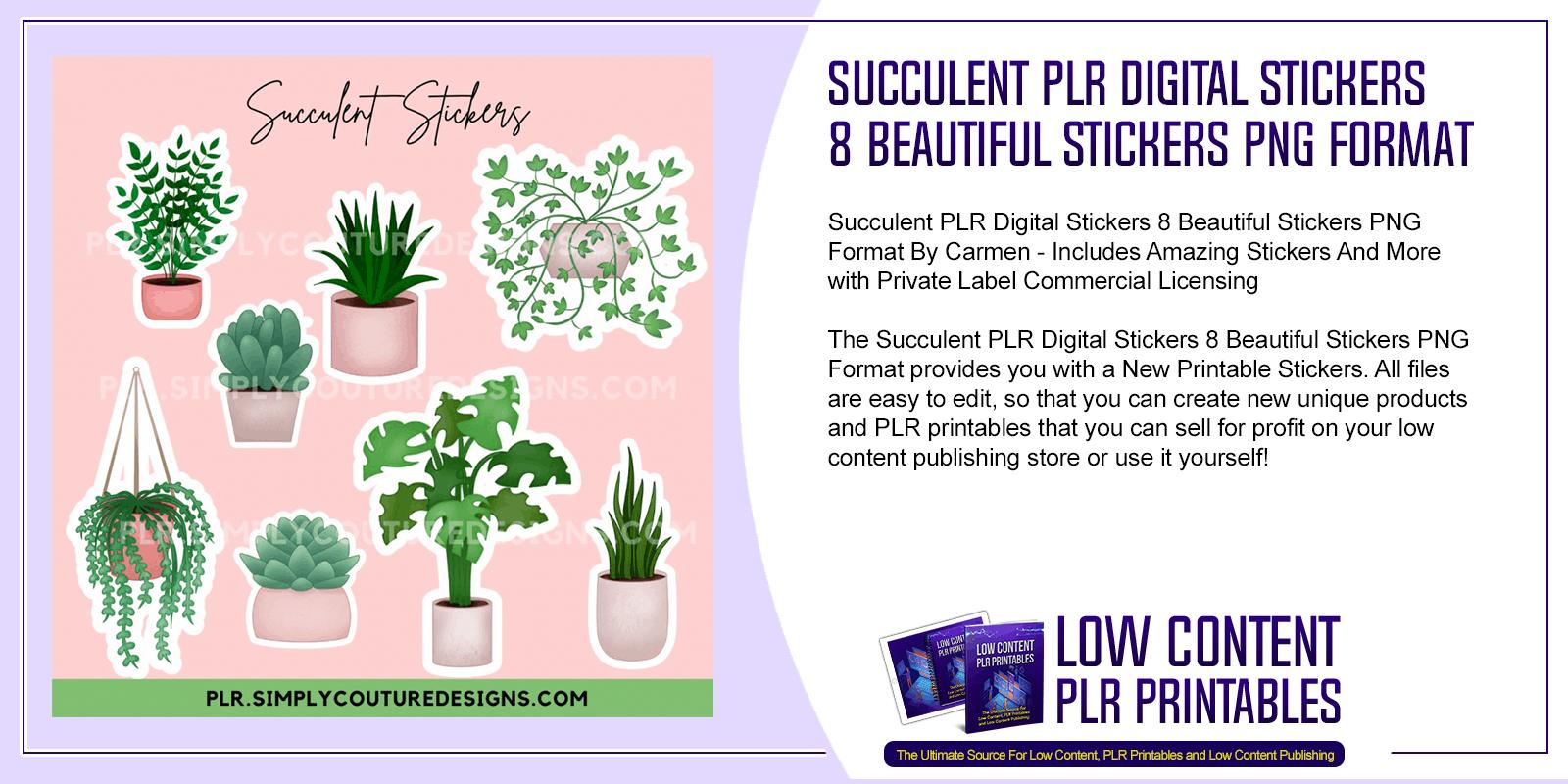 Succulent PLR Digital Stickers 8 Beautiful Stickers PNG Format