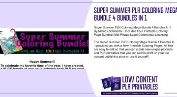 Super Summer PLR Coloring Mega Bundle 4 Bundles In 1