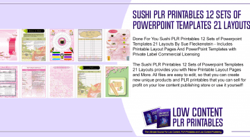 Sushi PLR Printables 12 Sets of Powerpoint Templates 21 Layouts