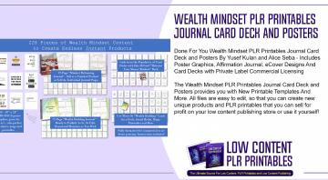 Wealth Mindset PLR Printables Journal Card Deck and Posters
