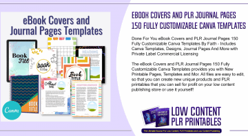 eBook Covers and PLR Journal Pages 150 Fully Customizable Canva Templates