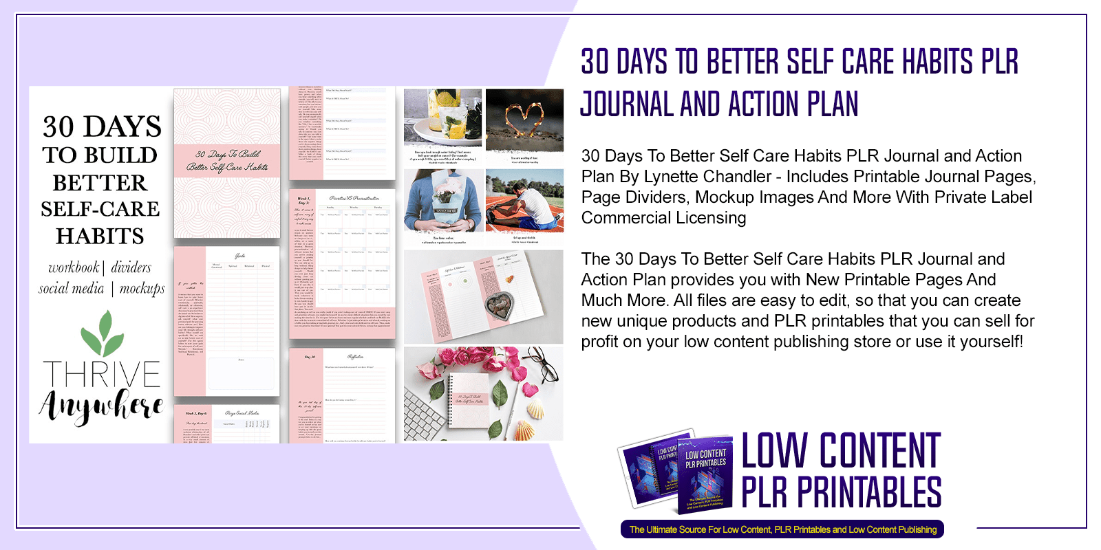 30 Days To Better Self Care Habits PLR Journal and Action Plan