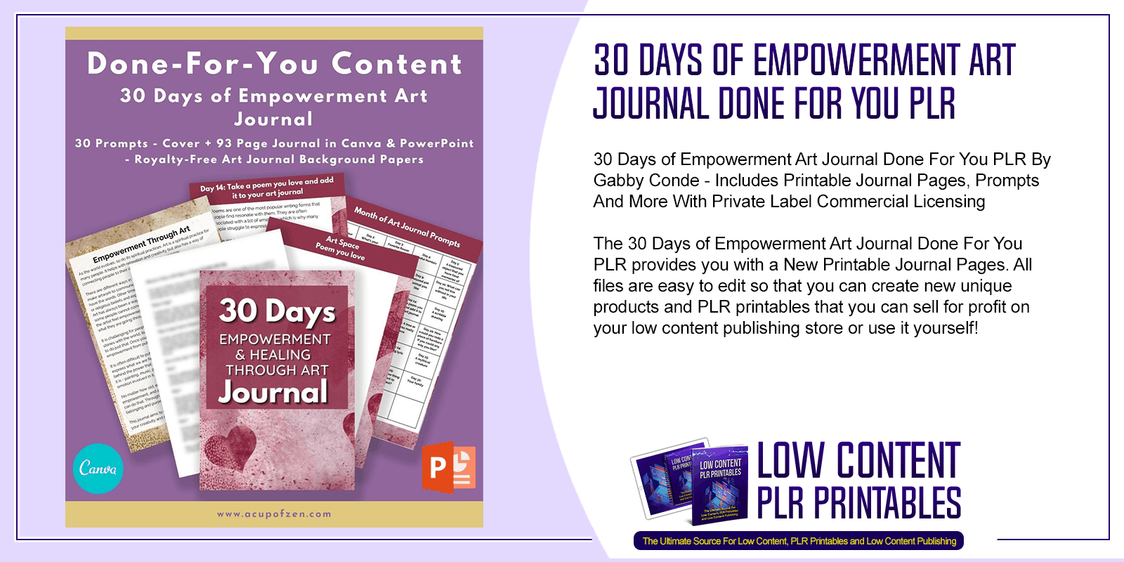 30 Days of Empowerment Art Journal Done For You PLR