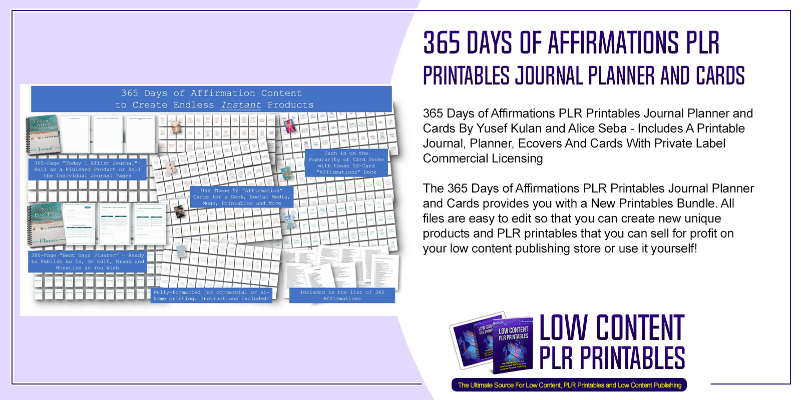 365 Days of Affirmations PLR Printables Journal Planner and Cards