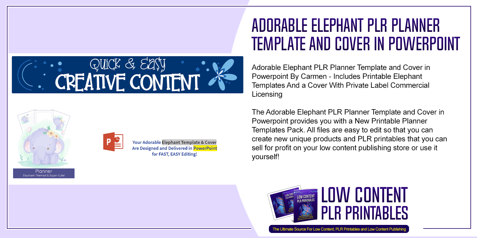 Adorable Elephant PLR Planner Template and Cover in Powerpoint