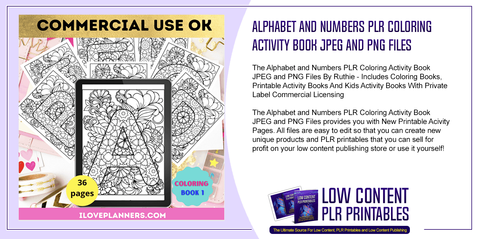 Alphabet and Numbers PLR Coloring Activity Book JPEG and PNG Files