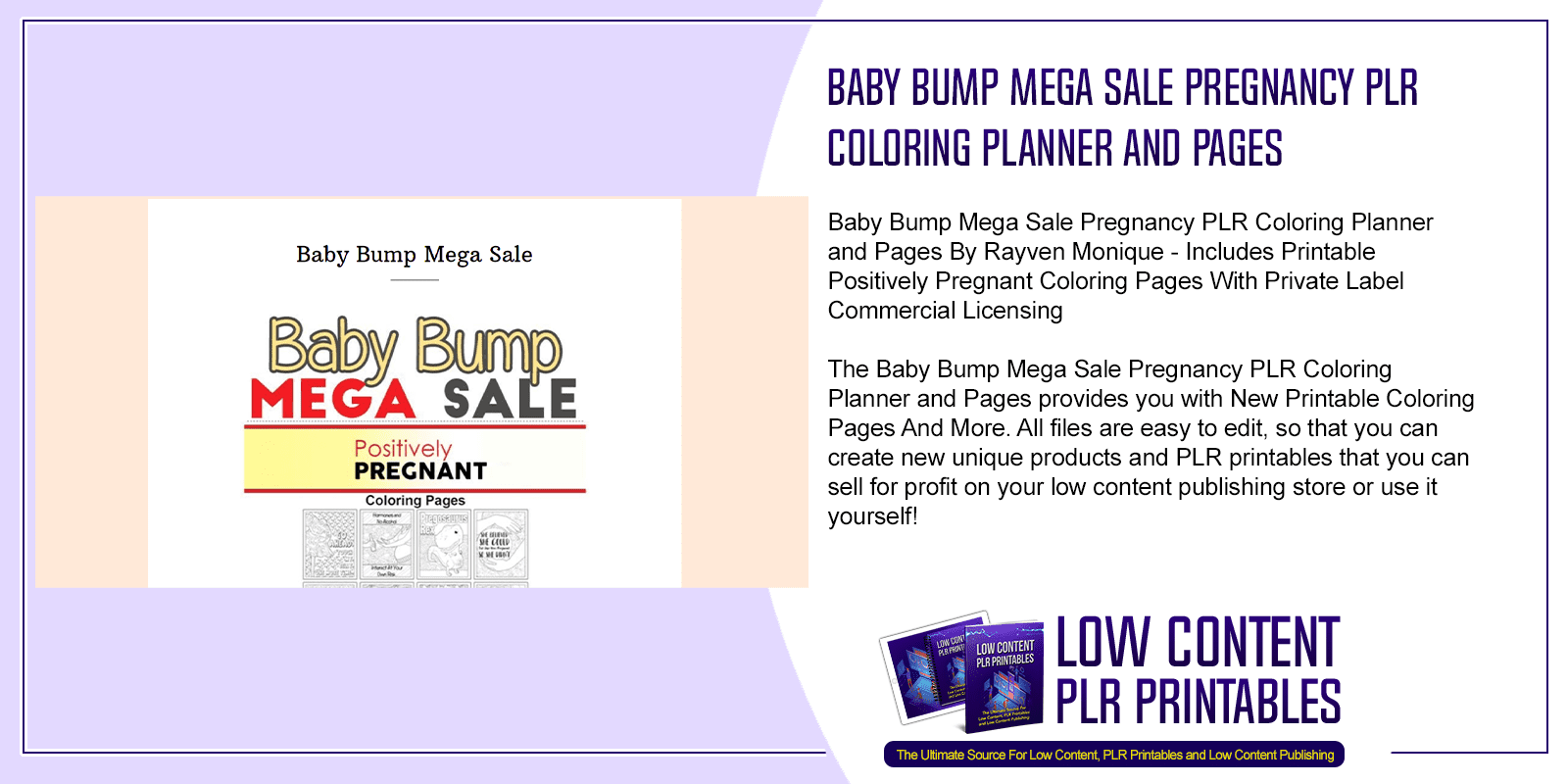 Baby Bump Mega Sale Pregnancy PLR Coloring Planner and Pages