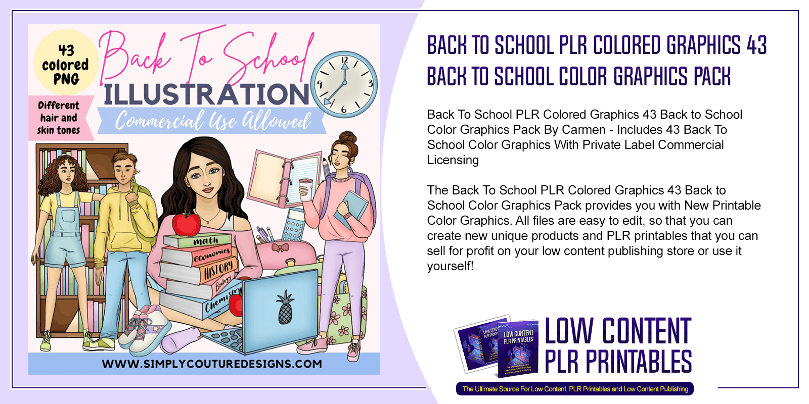 Back To School PLR Colored Graphics 43 Back to School Color Graphics Pack
