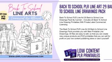 Back To School PLR Line Art 29 Back to School Line Drawings Pack