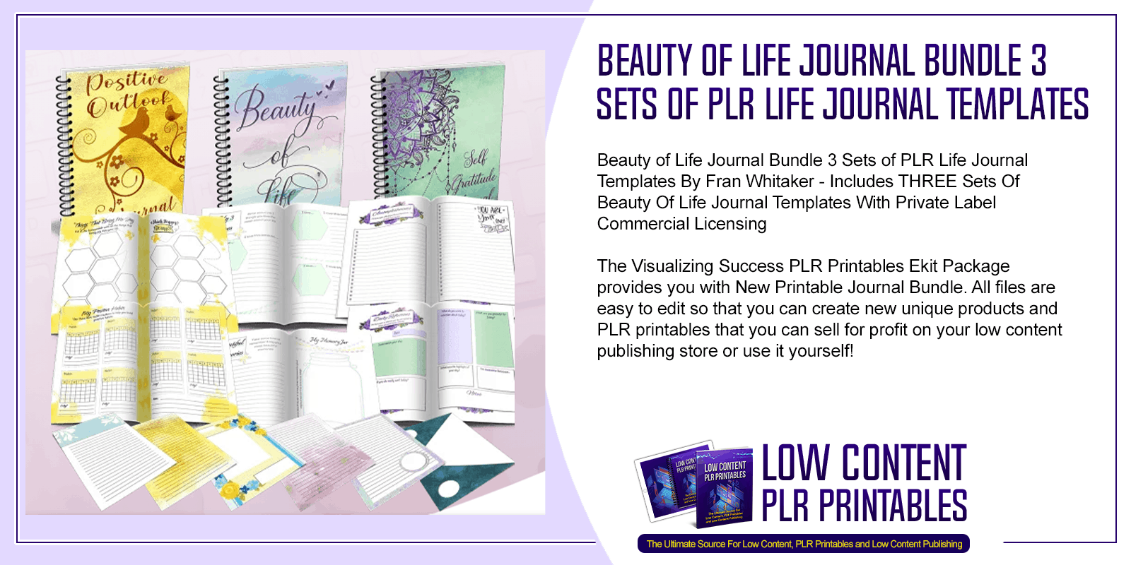 Beauty of Life Journal Bundle 3 Sets of PLR Life Journal Templates