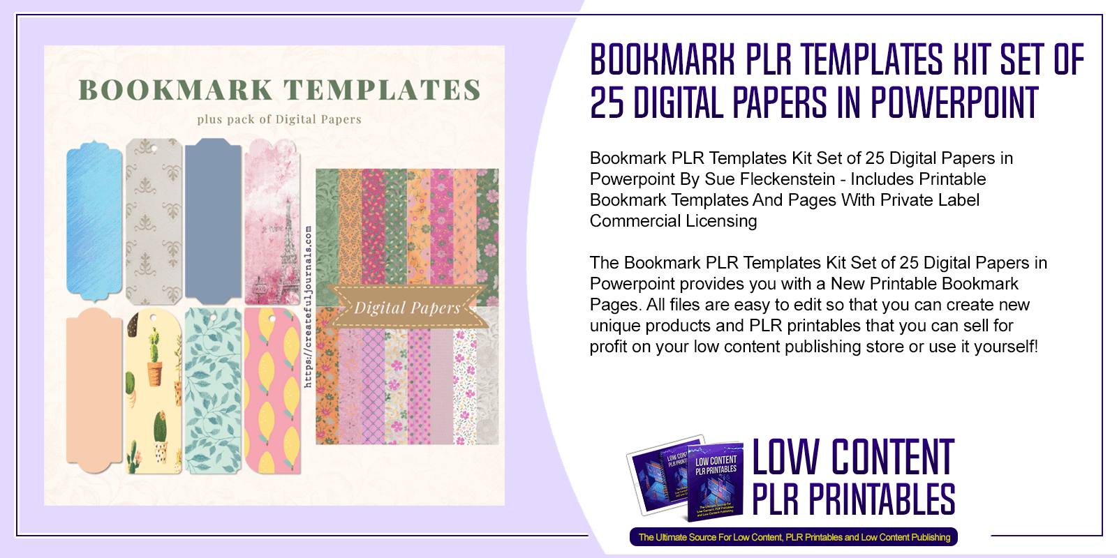 Bookmark PLR Templates Kit Set of 25 Digital Papers in Powerpoint
