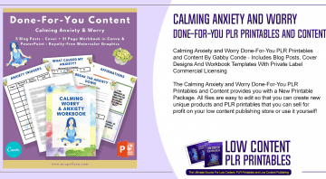 Calming Anxiety and Worry Done For You PLR Printables and Content