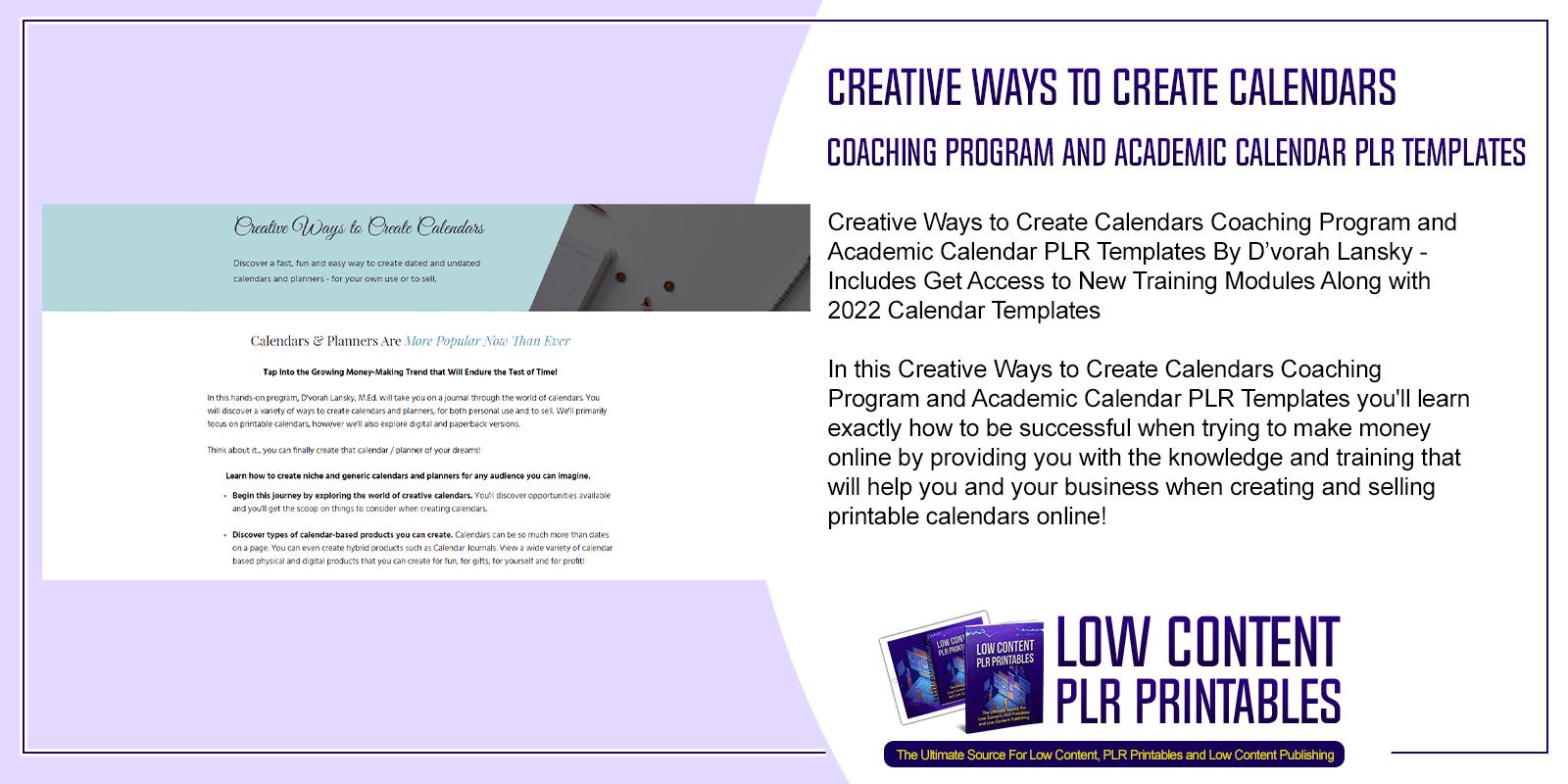 Creative Ways to Create Calendars Coaching Program and Academic Calendar PLR Templates