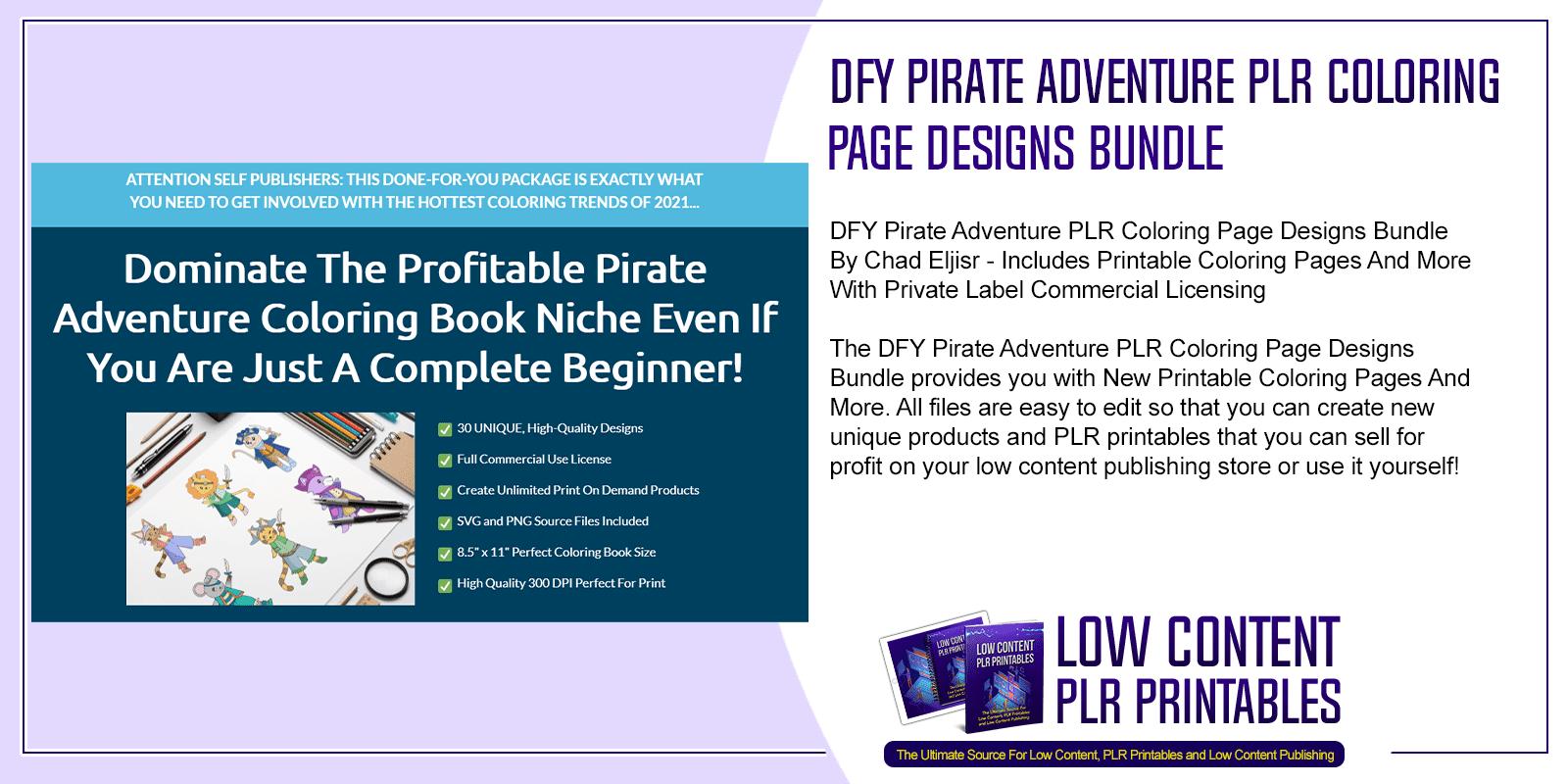 DFY Pirate Adventure PLR Coloring Page Designs Bundle