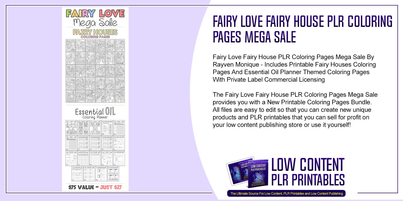 Fairy Love Fairy House PLR Coloring Pages Mega Sale