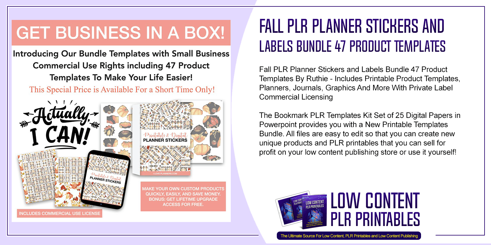 Fall PLR Planner Stickers and Labels Bundle 47 Product Templates