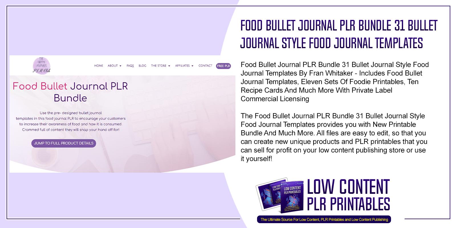 Food Bullet Journal PLR Bundle 31 Bullet Journal Style Food Journal Templates