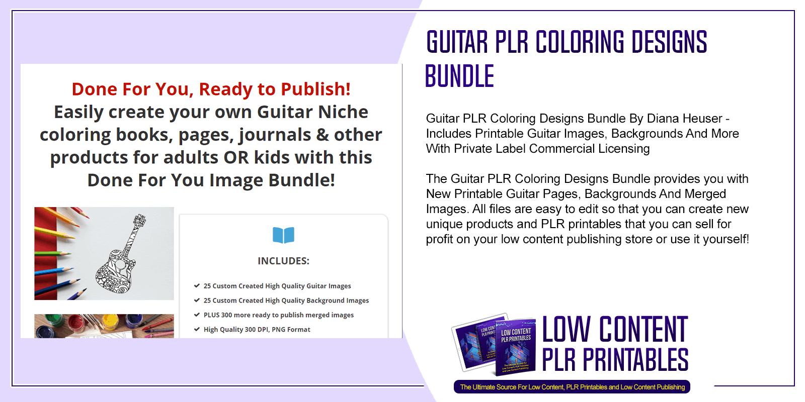 Guitar PLR Coloring Designs Bundle