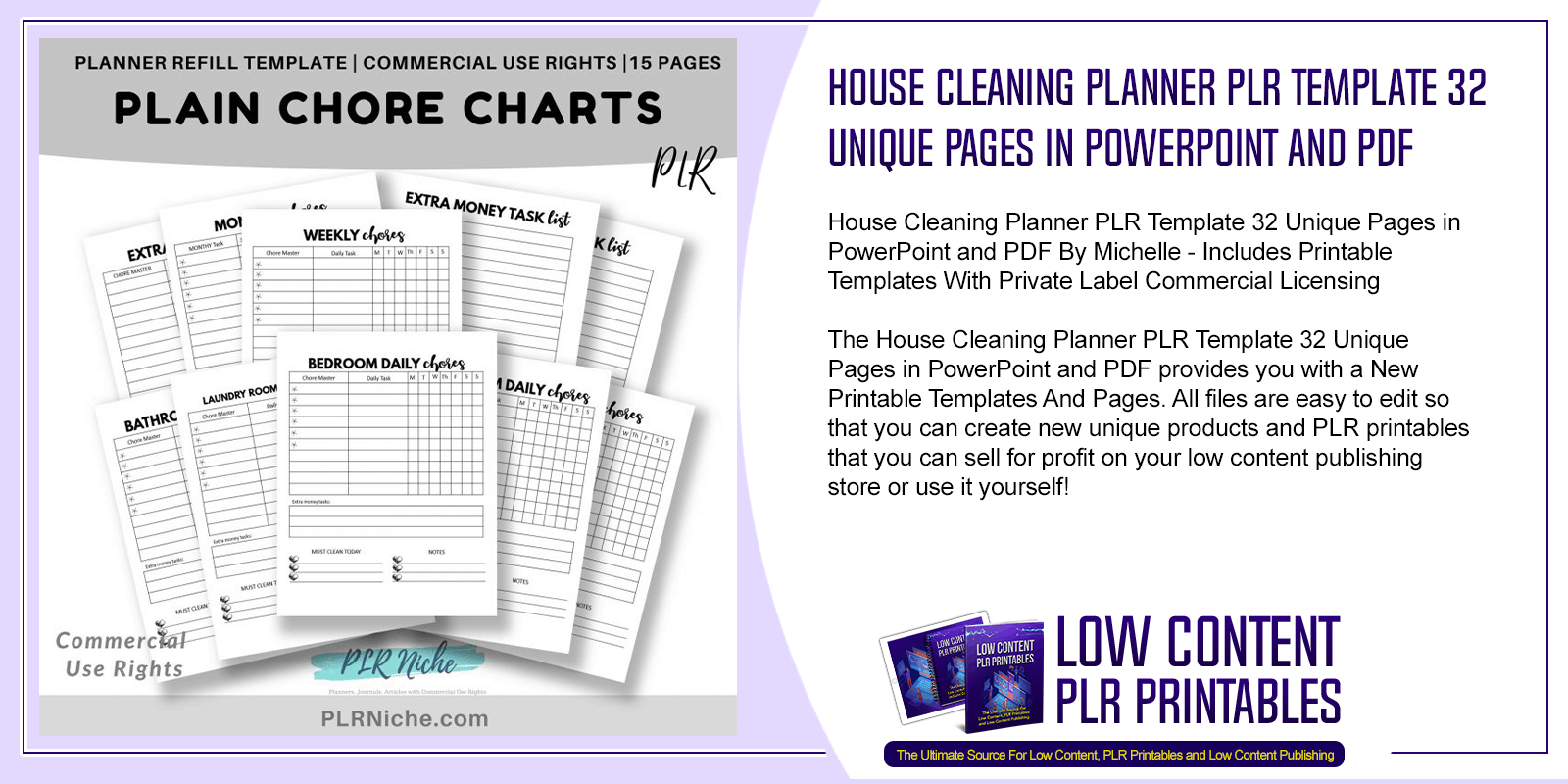 House Cleaning Planner PLR Template 32 Unique Pages in PowerPoint and PDF