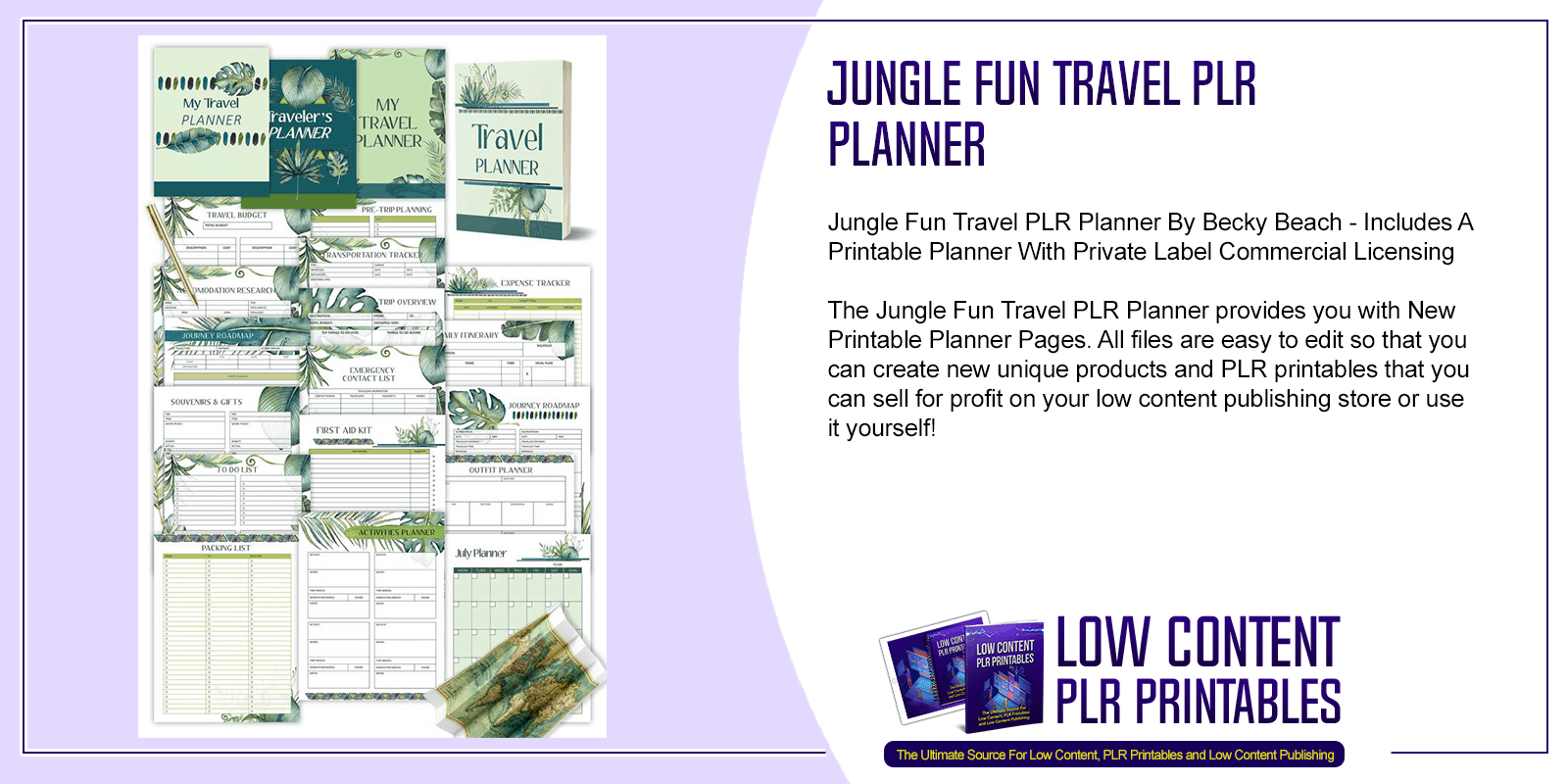 Jungle Fun Travel PLR Planner