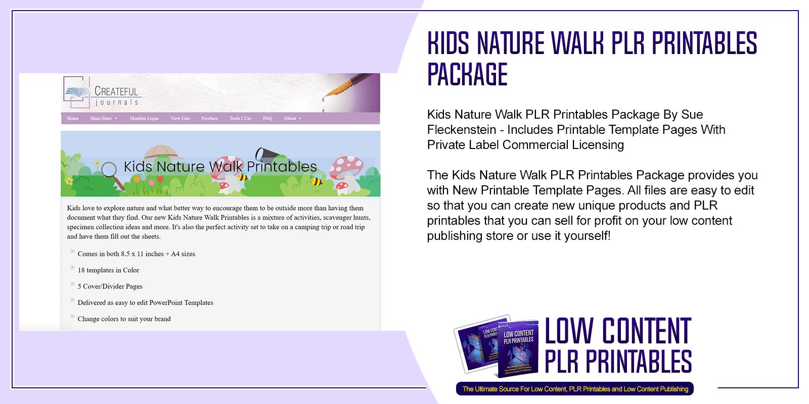 Kids Nature Walk PLR Printables Package