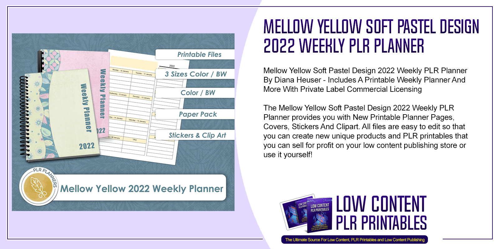 Mellow Yellow Soft Pastel Design 2022 Weekly PLR Planner