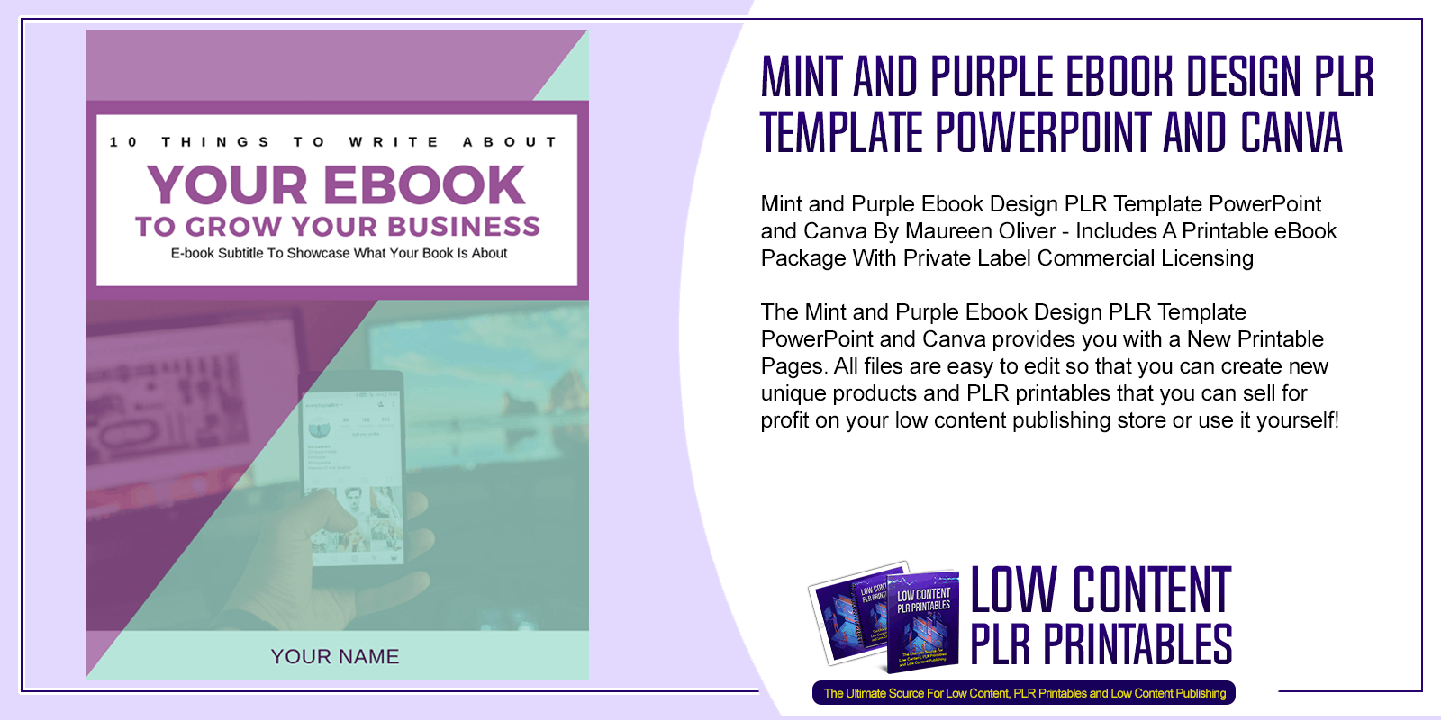 Mint and Purple Ebook Design PLR Template PowerPoint and Canva