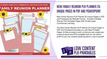 New Family Reunion PLR Planner 26 Unique Pages in PDF and Powerpoint