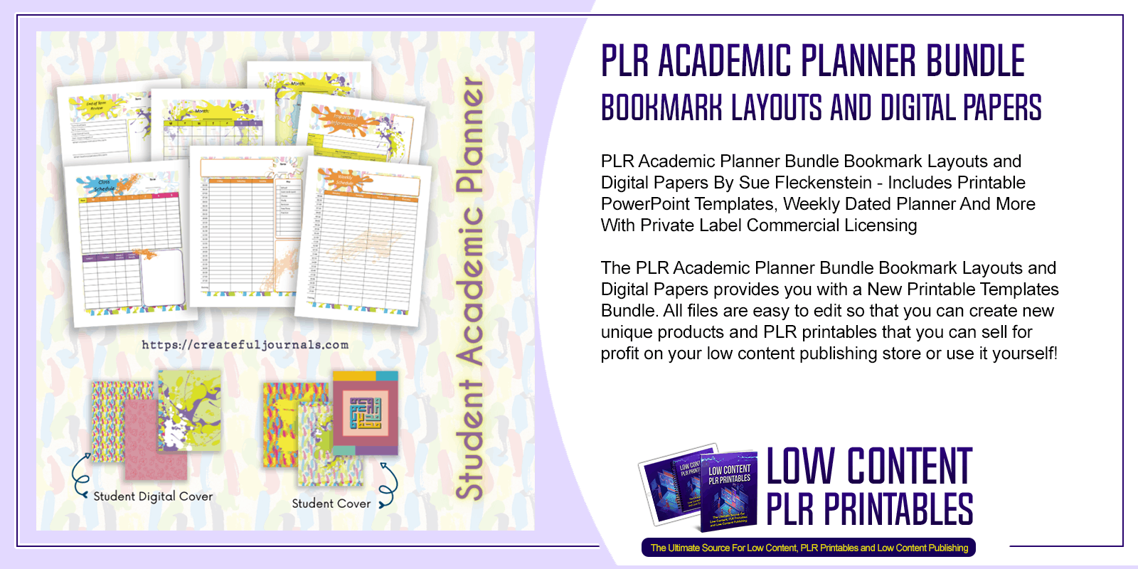 PLR Academic Planner Bundle Bookmark Layouts and Digital Papers