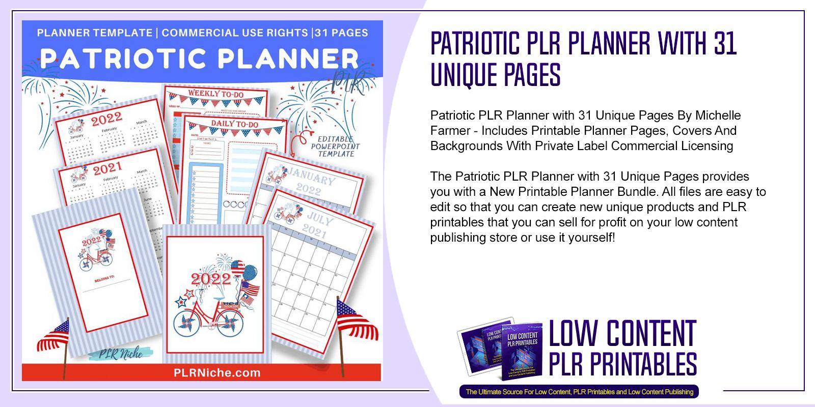 Patriotic PLR Planner with 31 Unique Pages
