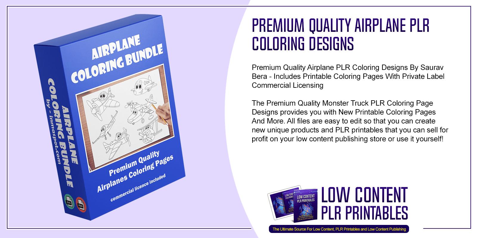 Premium Quality Airplane PLR Coloring Designs