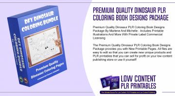 Premium Quality Dinosaur PLR Coloring Book Designs Package