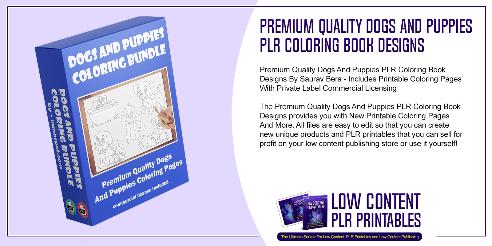 Premium Quality Dogs And Puppies PLR Coloring Book Designs