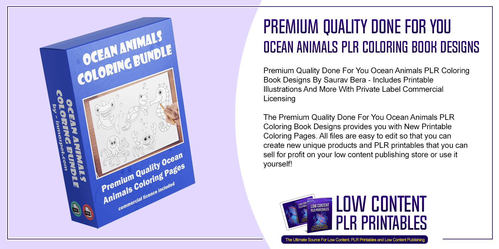 Premium Quality Done For You Ocean Animals PLR Coloring Book Designs