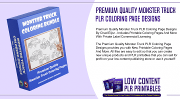 Premium Quality Monster Truck PLR Coloring Page Designs