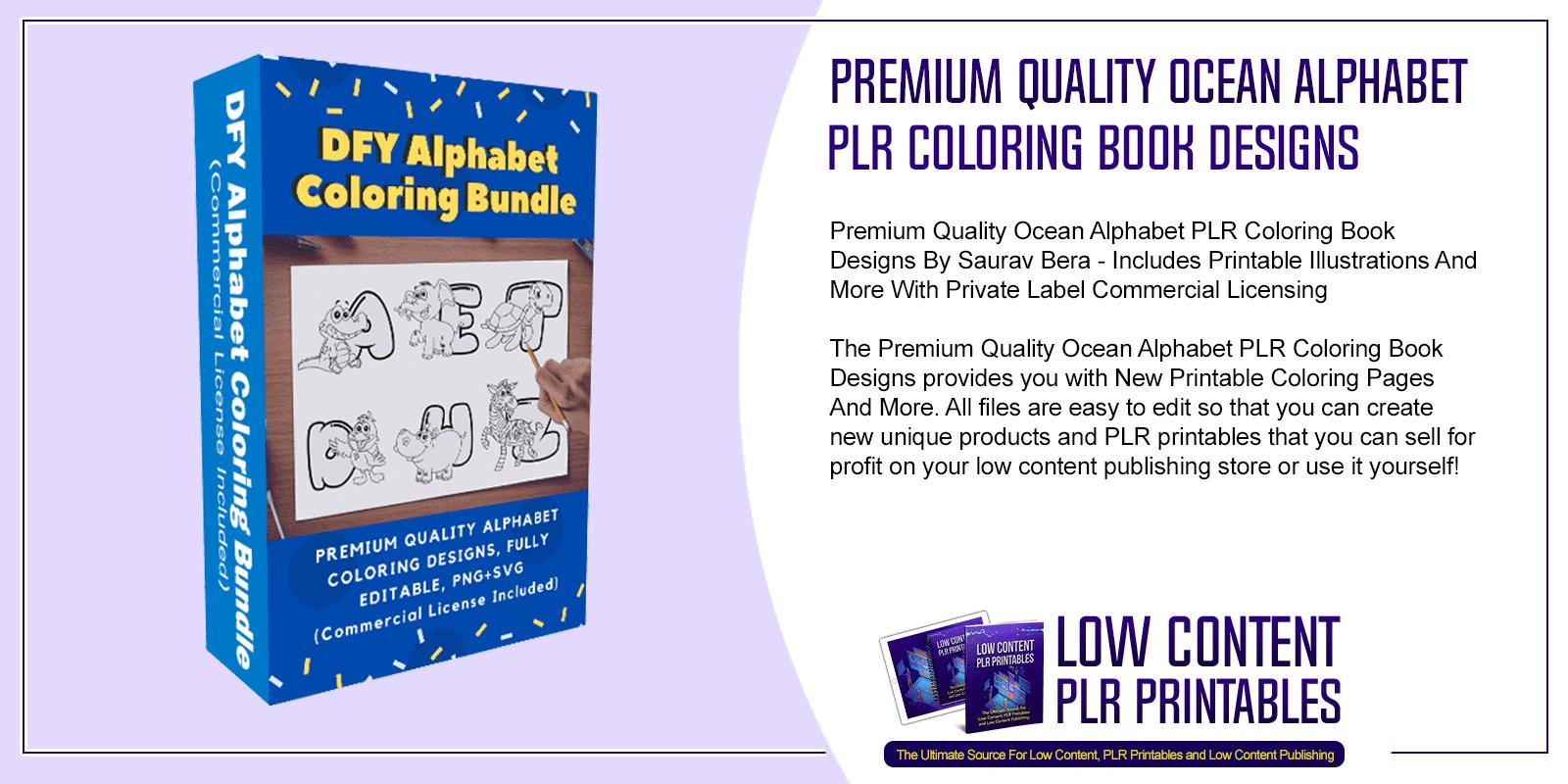 Premium Quality Ocean Alphabet PLR Coloring Book Designs