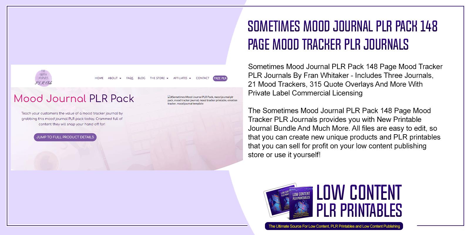 Sometimes Mood Journal PLR Pack 148 Page Mood Tracker PLR Journals