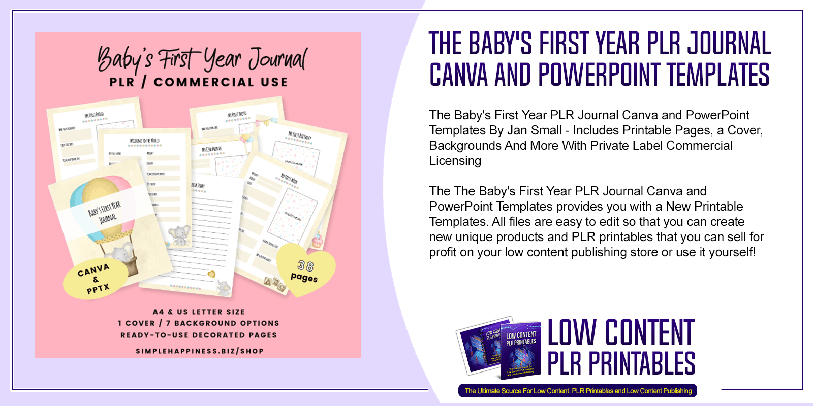 The Babys First Year PLR Journal Canva and PowerPoint Templates