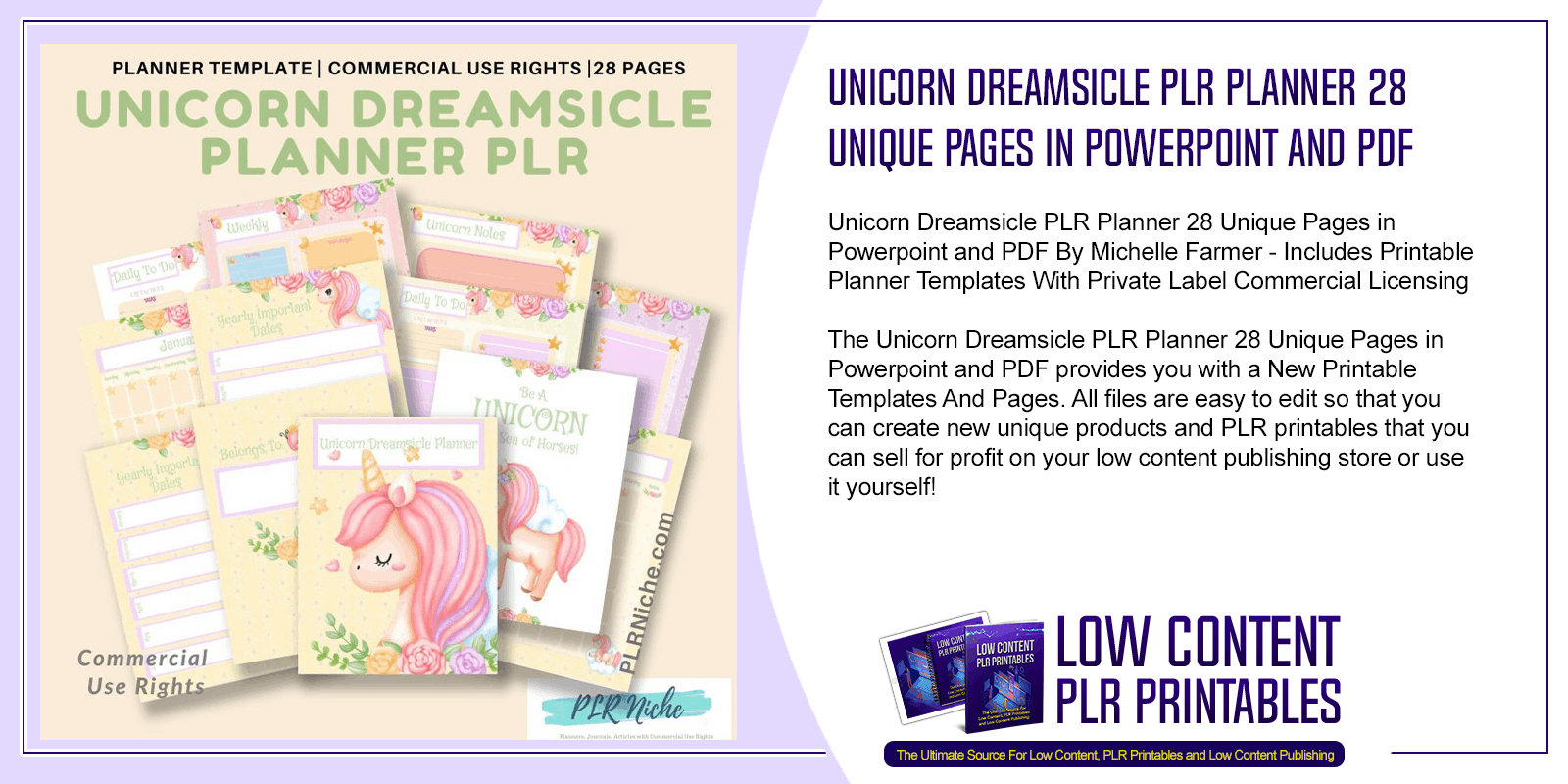 Unicorn Dreamsicle PLR Planner 28 Unique Pages in Powerpoint and PDF